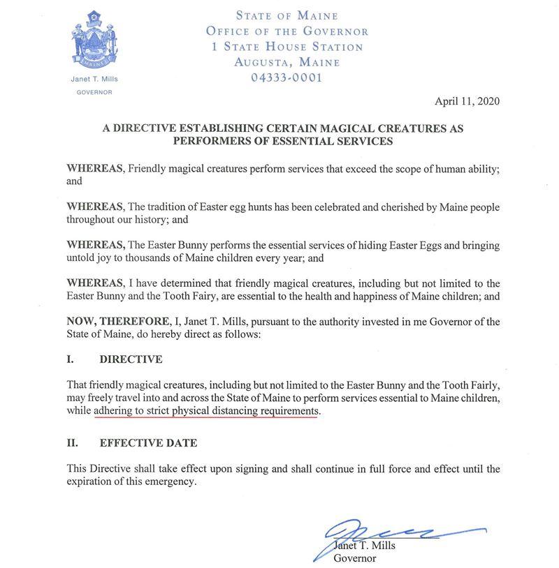 decizie guvernator Maine SUA activitate profesională esențială Iepuraș Paște