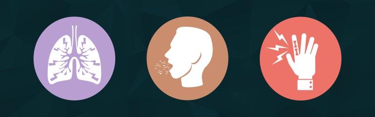 Cele mai frecvente manifestări prezente în boala pulmonară interstițială constau în: dispnee, tuse neproducativă, degete hipocratice (curbarea și lărgirea unghiilor din cauza scăderii vascularizației periferice).