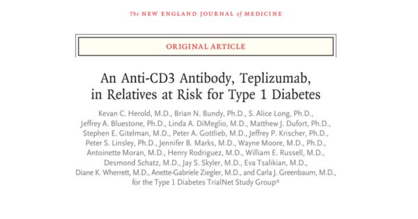 Titlu articol in NEJM anticorpul anti CD-3 teplizumab amână debutul diabetului zaharat de tip 1 la rudele cu risc înalt de a dezvolta boala