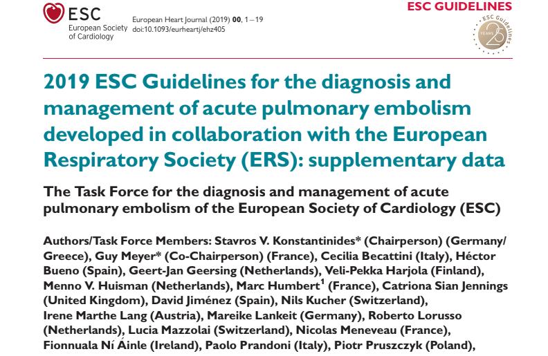 Ghidul european 2019 pentru embolia pulmonară acută
