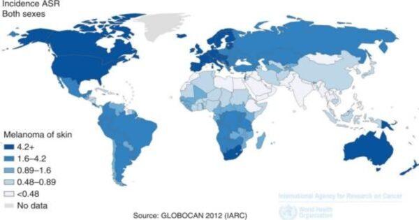 Rata de incidenţă anuală a menanomului la nivel mondial, în funcţie de vârstă