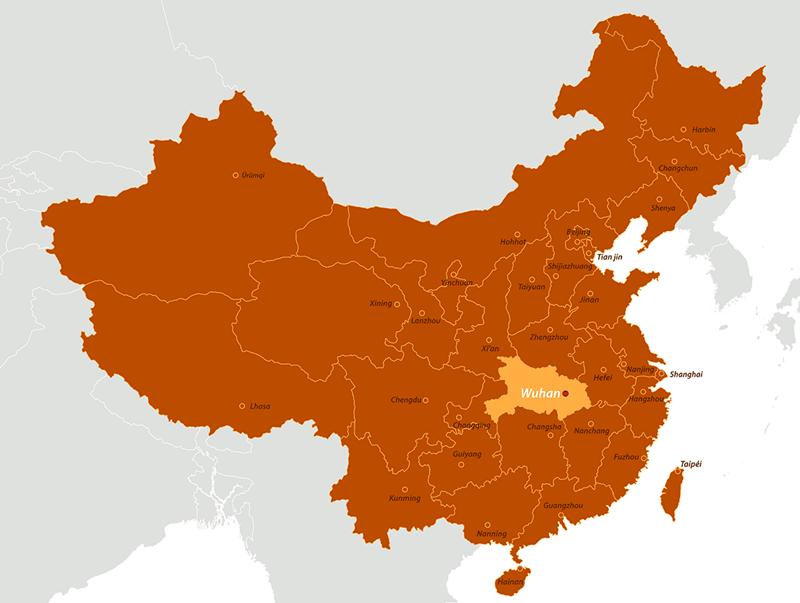 Harta China provincii și municipalități- localizarea orașului Wuhan, sursa cazurilor de pneumonie cu coronavirus