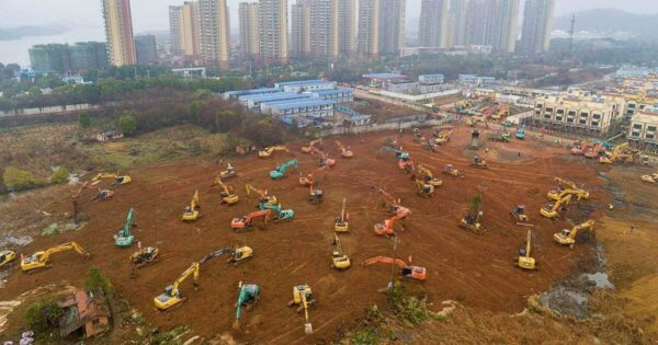 construcție spital modular Wuhan China coronavirus