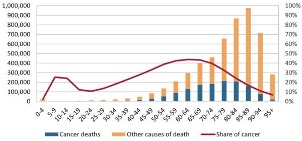Grafic bare și linii, cauză deces Europa funcție grupa de vârstă.