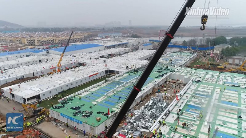 Finalizare lucrări spital modular Huoshenshan Wuhan China 2 februarie 2020