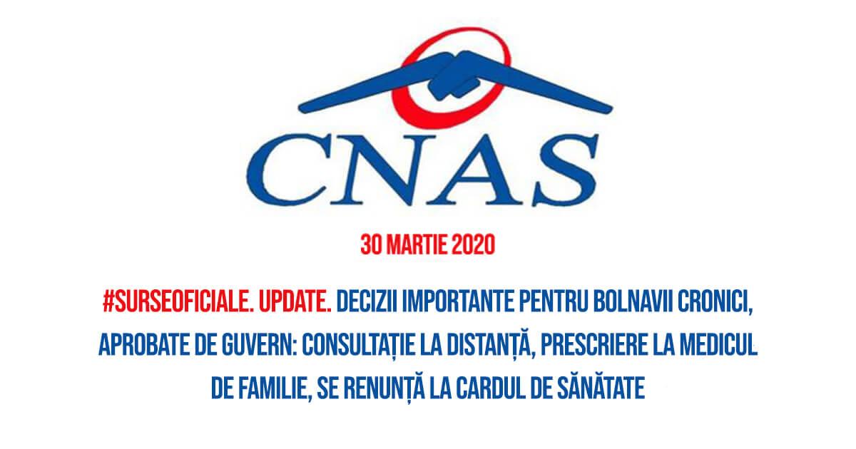 Aprobarea de Guvern din 30 martie a măsurilor CNAS