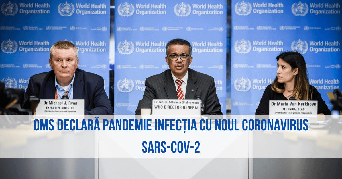 OMS declară pandemie infecția cu noul coronavirus SARS-CoV-2