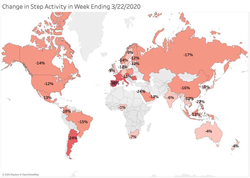 Grafic hartă mondială și număr de pași în a treia săptămână din martie.