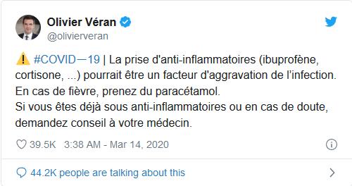 ministrul francez al sanatatii twitter ibuprofen covid19
