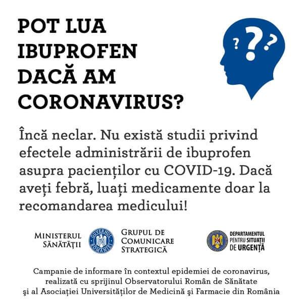 minsisterul sanatatii romania ibuprofen covid 19