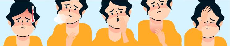 Ilustrații simptome principale SARS-CoV-2 (tuse, dispnee, febră)