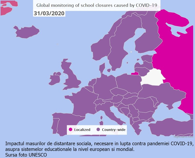 închidere instituții învățământ, de la primare la terțiare, în Europa, conform datelor UNICEF