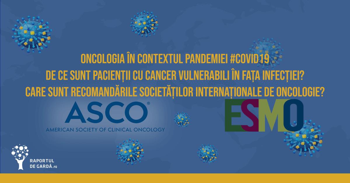 Oncologie cancer pandemie COVID19 SARSCoV2 recomandari NCCN ASCO ESMO
