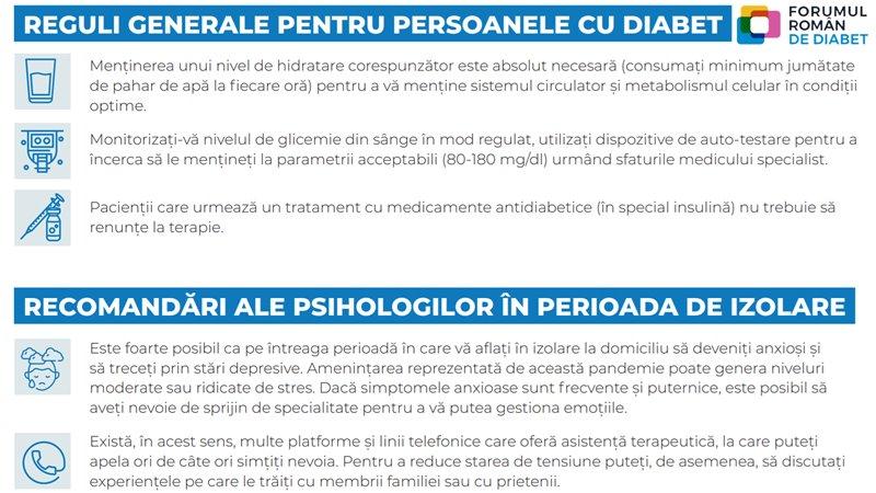 Infografic Forumul Român de Diabet, în contextul pandemiei COVID-19: reguli generale pentru diabetici, și sfaturi psihologice pentru perioada de izolare