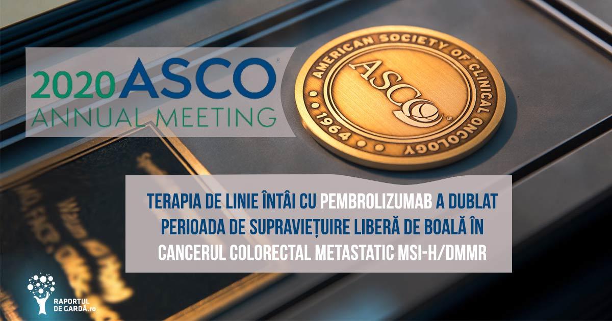 #ASCO20. Imunoterapia cu pembrolizumab ar putea fi noul standard al terapiei de linie întâi al unui subgrup de pacienți cu cancer colorectal metastatic logo și medalie asco