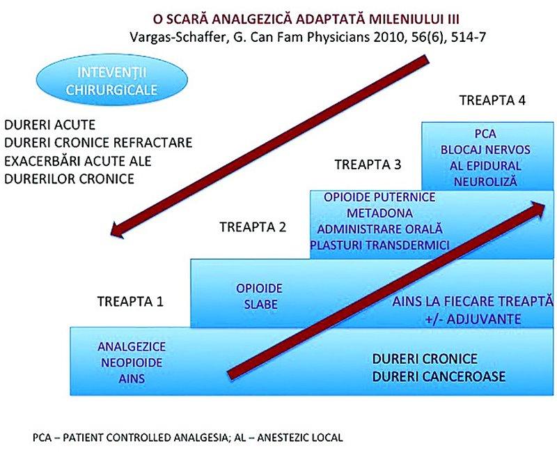 schemă trepte analgezie tratament durere cronică opioide AINS