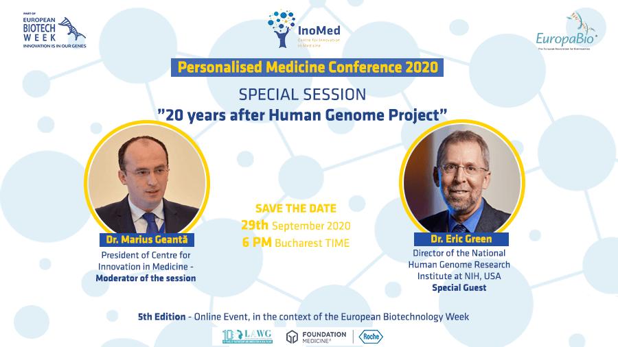 Dr. Marius Geantă, Președintele Centrului pentru Inovație în Medicină, în discuție cu Dr. Eric Green, directorul Institutului Național pentru Cercetarea Genomului Uman din SUA