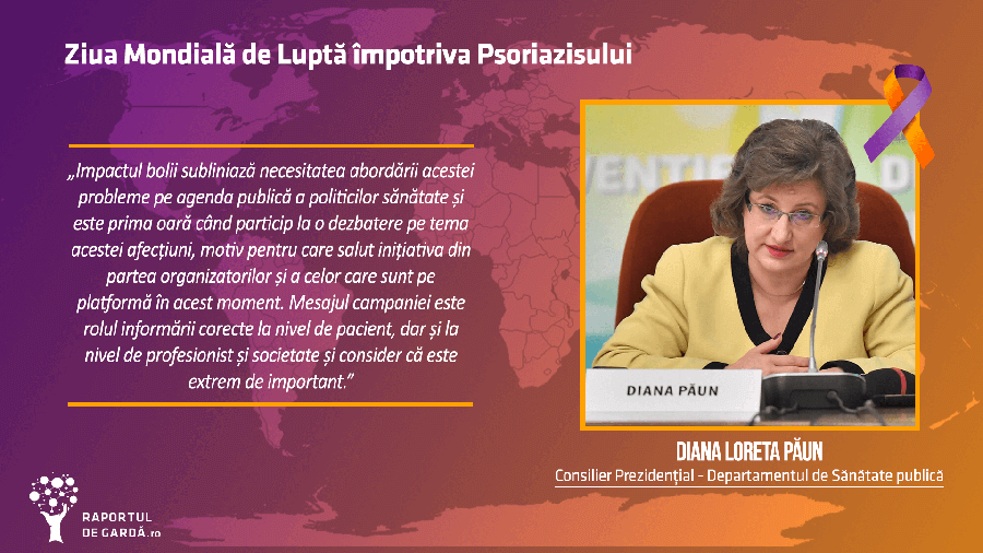 Dr. Diana Păun la evenimentul dedicat Zilei Mondiale a Psoriazisului