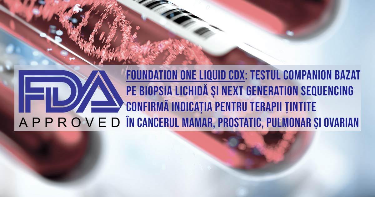 aprobare FDA test diagnostic comanio Foundation One Liquid CDx biopsie lichidă next generation sequencing cancer mamar prostatic ovarian pulmonar