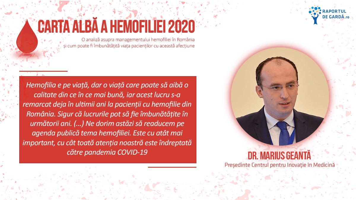 Carta Albă a Hemofiliei 2020, Dr. Marius Geantă