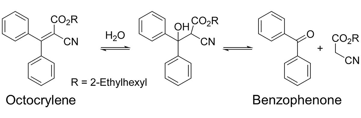 Reacția chimică de transformare a octocrilenului în benzofenonă