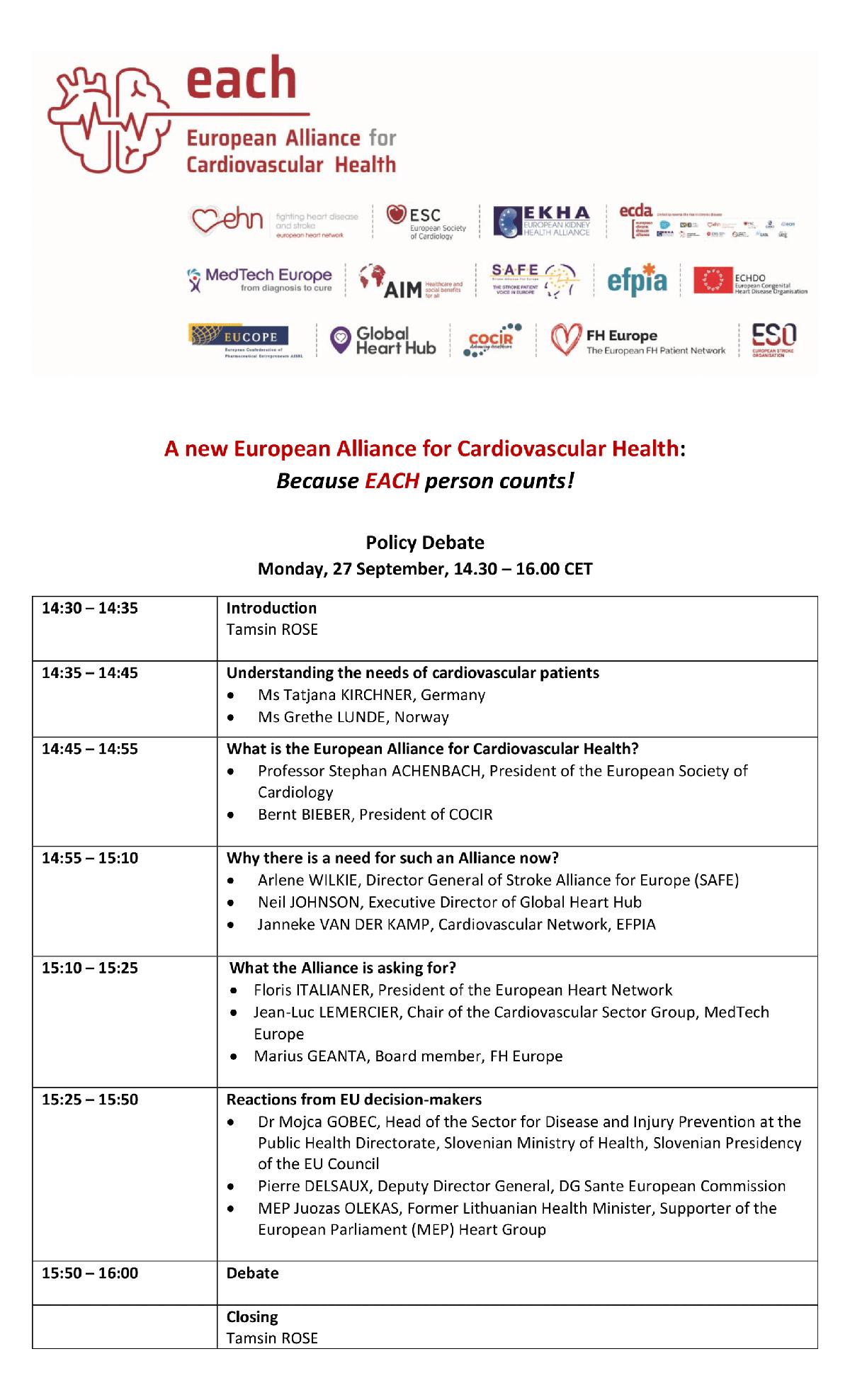 Cardiovascular Health Alliance Launch - EACH
